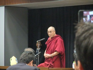 The Dalai Lama giving his lecture