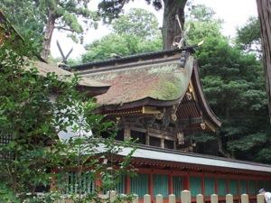 回路の上に神社の屋根が見える